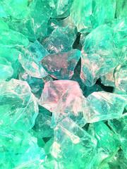 Green quartz stone, glass blocks