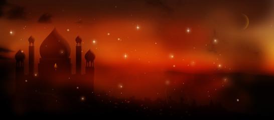 magical aladdin palace at sunset