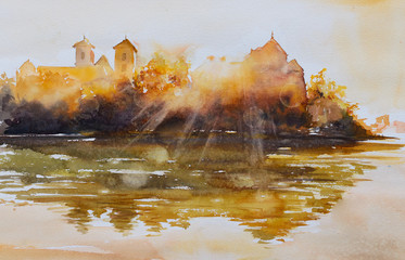 Benedictine monastery at sunrise in Tyniec near Krakow Poland. Picture created with watercolors.