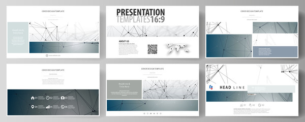 Business templates in HD format for presentation slides. Abstract vector layouts in flat design. DNA and neurons molecule structure. Medicine, science, technology concept. Scalable graphic.