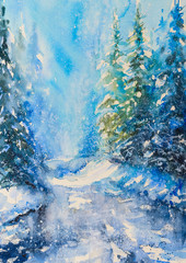 Watercolor illustration with winter scene of magic forest covered with snow.