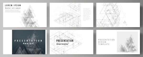 The minimalistic abstract editable vector layout of the presentation slides design business templates. Polygonal background with triangles, connecting dots and lines. Connection structure. Wall mural