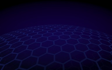 Multilayer sphere of honeycombs, violet on a dark background, social network, computer network, technology, global network. 3D illustration