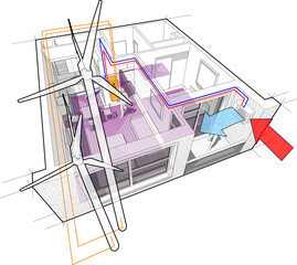 Perspective cutaway diagram of a one bedroom apartment completely furnished with hot water floor heating and air source heat pump as source of heating energy and with wind turbines