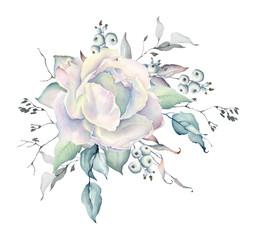 Watercolor White Rose Bouquet