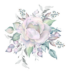 Watercolor White Rose Bouquet