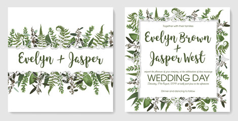 Beautiful festive frame with green leaves of forest fern, boxwood and eucalyptus. Vector sample for wedding invitations, cards, banners, certificates. Horizontal