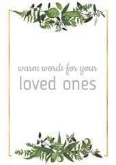 Decorative golden rectangular frame with eucalyptus, fern and boxwood branches isolated on white. For wedding invitations, vignettes, postcards, posters, documents