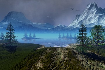 Beautiful lake, an alpine landscape, coniferous trees, snowy mountains, and birds in the sky.