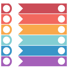 Template infographics from colorful horizontal arrows for 6 positions