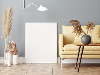 Mock up poster in Scandinavian hipster living room background, 3d render, 3d illustration
