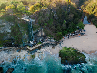 Indonesia, Bali, Aerial view of lift and beach