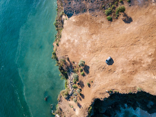 Indonesia, Bali, Aerial view of Balangan beach, viewpoint