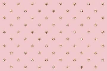 Golden star pattern on pastel pink background. 3D rendering.