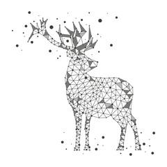 Polygonal deer on white background