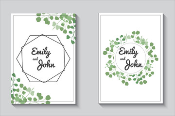 Greenery cards, eucalypthus wedding invitation set