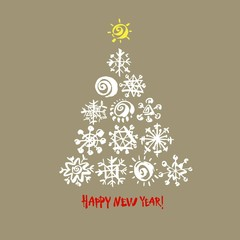 Happy new year text. White snowflake Christmas tree on gray background. Christmas vector card
