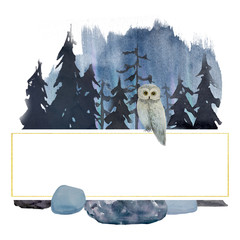 Winter watercolor owl in forest. Frame. Logo
