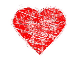 Grunge scratched heart.Red grunge heart made of red paint.