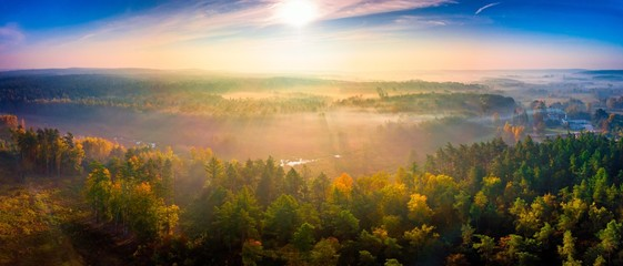 Obraz Aerial landscape with foggy sunrise over meadows and forest - fototapety do salonu