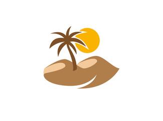 desert logo palm vector design
