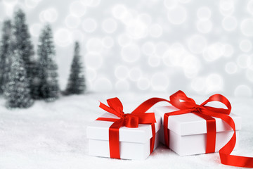 Wall Mural - Christmas gifts with bokeh background