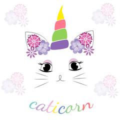 Cute Caticorn character.