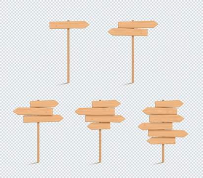 Wooden Sign Plain Empty 3d Direction Arrow Post Set