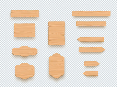 Wooden Sign Plain Empty 3d Board Banner Elements Set