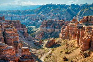 Charyn Canyon in South East Kazakhstan, taken in August 2018taken in hdr taken in hdr Fototapete