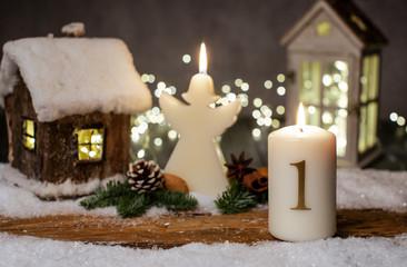 erster Advent Karte Kerze Stimmung