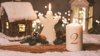Zweiter Advent Panorama Karte Stimmung Kerze