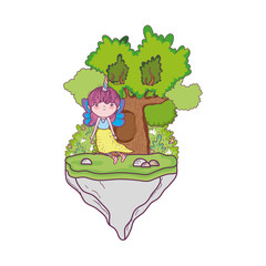 cute little fairy with tree character