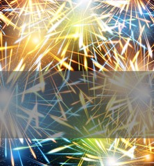 Fireworks explosions background on greeting card to the Happy New Year raster