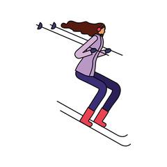 woman skiing in the winter season