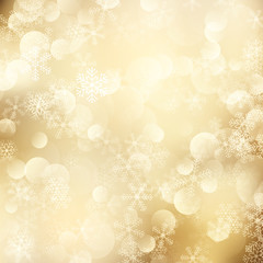 Christmas background of golden snowflakes