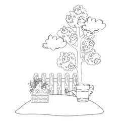 tree plant with garden and sprinkler