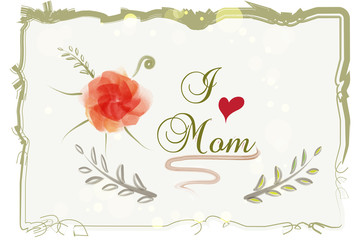 Mother's day design with watercolor flower in vintage style background