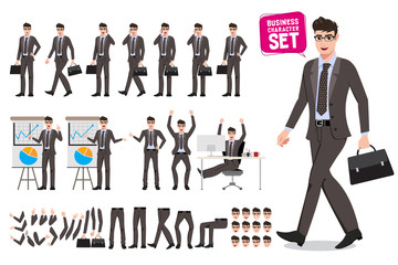 Business man presentation vector character set. Cartoon character creation of male business person talking for presentation with different poses. Vector illustration.