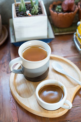 Hot espresso  coffee  and tea on wood table