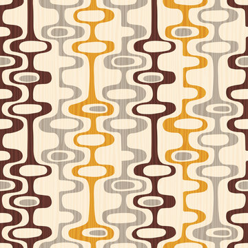 Seamless abstract mid century modern pattern for backgrounds, fabric design, wrapping paper, scrapbooks and covers. Retro design of organic oval shapes and stripes. Vector illustration.