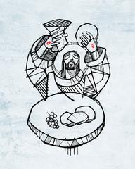 Jesus Christ at Eucharist illustration