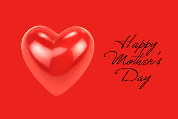 """Red heart shape with """" Happy Mother's Day """" text isolated on red background."""