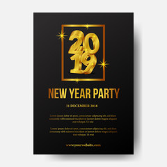 Happy new year poster party invitation 2019  with 3d gold number with frame. vector illustration. poster banner template
