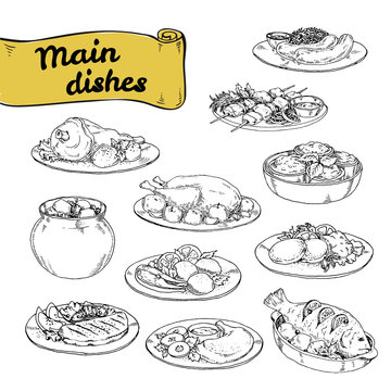 vector illustration set of main courses for design of restaurants and cafes. set hand-painted sektchey meat and fish dishes with side dishes of European cuisine.