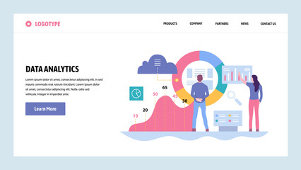 Vector web site gradient design template. Data analytics, dashboard and business finance report. Landing page concepts for website and mobile development. Modern flat illustration.