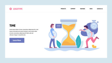 pVector web site gradient design template. Business Project deadline and time management. Landing page concepts for website and mobile development. Modern flat illustration.