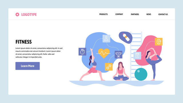 Vector web site gradient design template. Sport fitness exercise and yoga class. Landing page concepts for website and mobile development. Modern flat illustration.