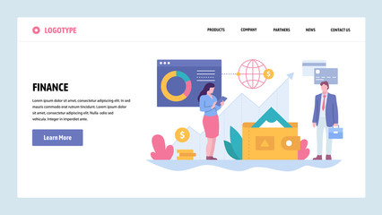 Vector web site gradient design template. Business and finance consulting. Money investment in stock market. Landing page concepts for website and mobile development. Modern flat illustration.