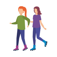 couple girls in skates characters